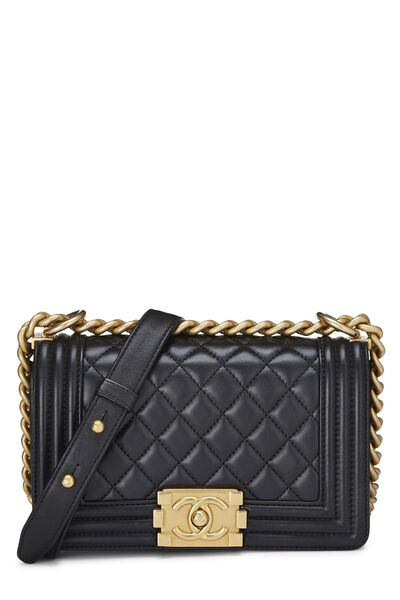 Black Quilted Lambskin Boy Bag Small