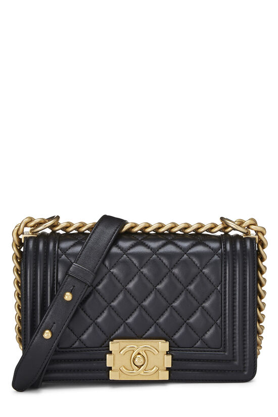 Black Quilted Lambskin Boy Bag Small, , large image number 0