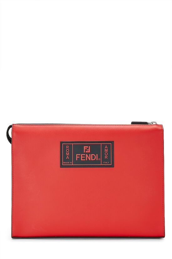 Black & Red Leather Fiend Clutch, , large image number 0