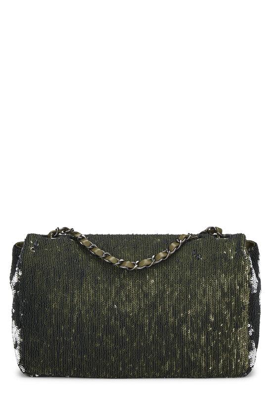Paris-Cuba Olive Sequin Classic Flap Bag Medium, , large image number 3