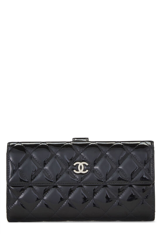 Black Quilted Patent Leather Flap Wallet, , large image number 0