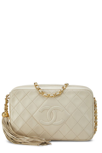 Cream Quilted Lambskin 'CC' Camera Bag Large