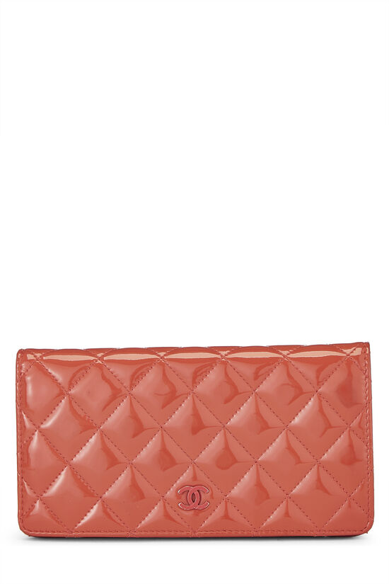 Orange Quilted Patent Leather Long Wallet, , large image number 0