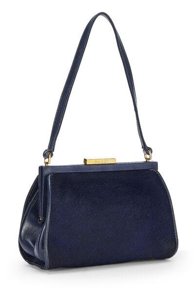 Navy Pony Hair Handbag, , large