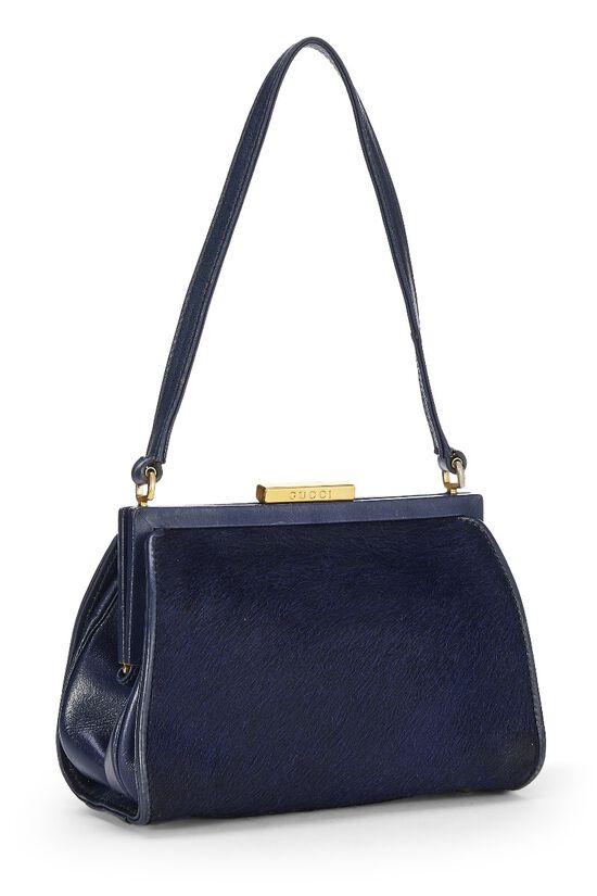 Navy Pony Hair Handbag, , large image number 1