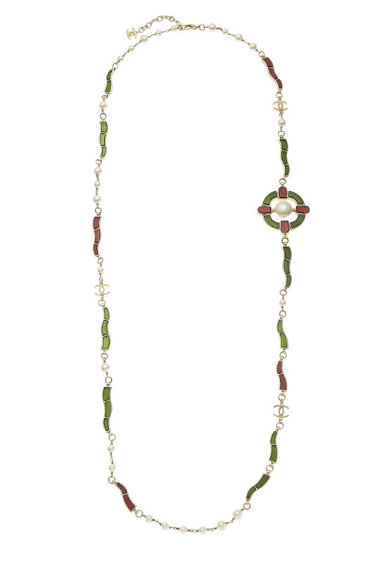 Green & Red Gripoix Necklace, , large image number 0