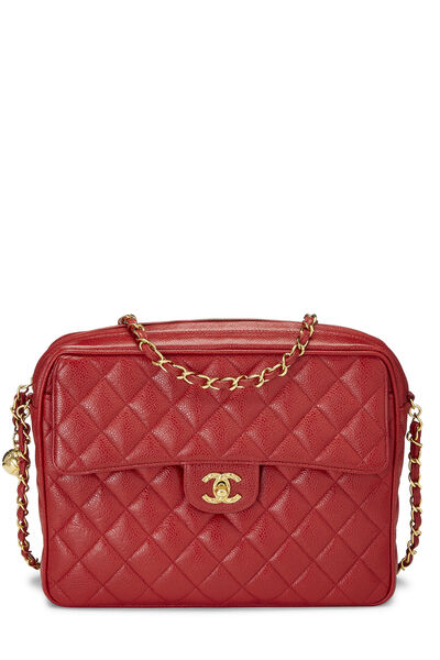 Red Quilted Caviar Pocket Camera Bag Large