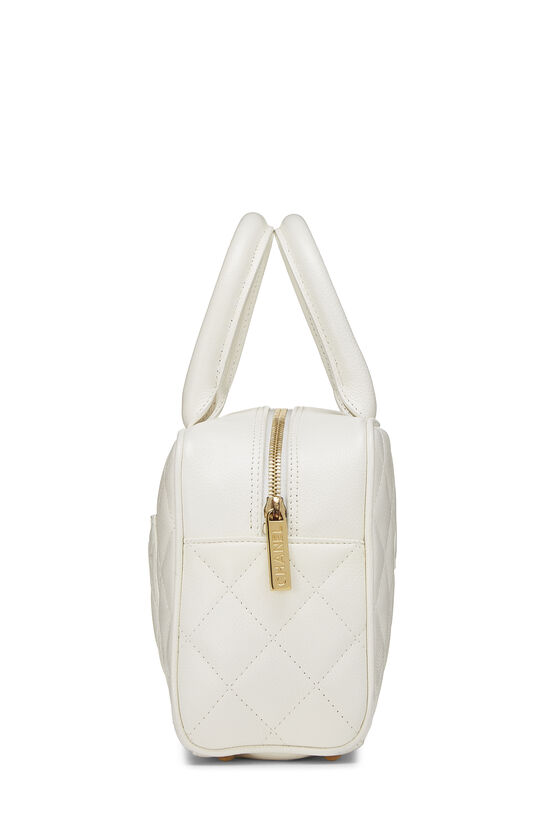 White Quilted Caviar Bowler Mini, , large image number 2