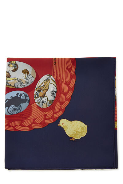 Red & Multicolor 'Couvee d'Hermes' Silk Scarf 90, , large