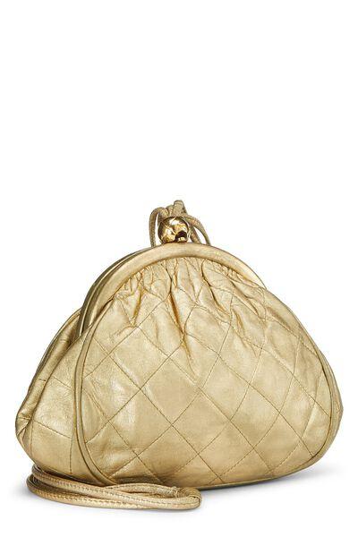 Metallic Gold Quilted Lambskin Shoulder Bag Mini, , large