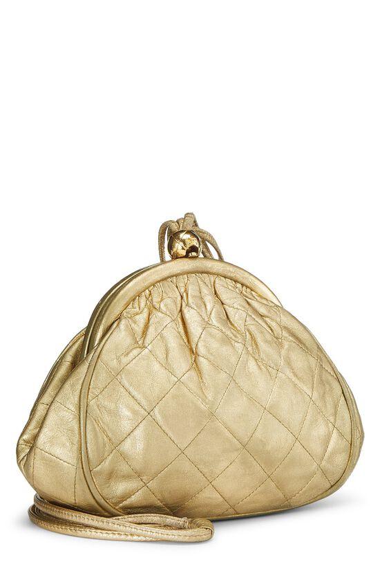 Metallic Gold Quilted Lambskin Shoulder Bag Mini, , large image number 1