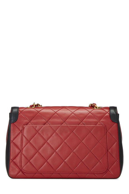 Red & Black Quilted Lambskin Curved Flap Small, , large image number 3