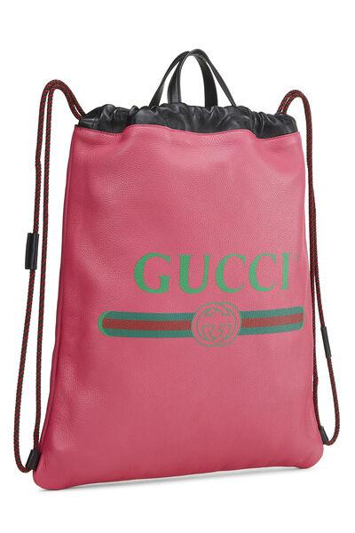 Pink Leather Drawstring Backpack Large, , large