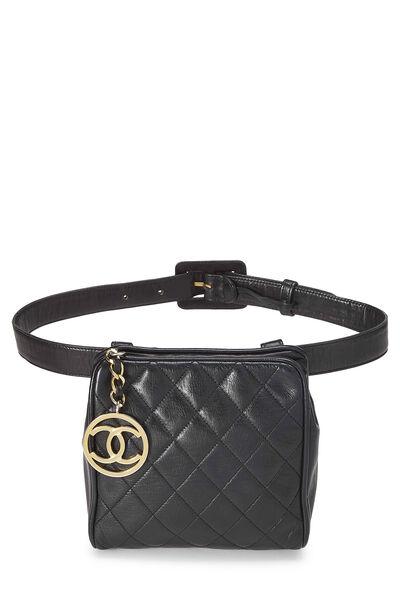 Black Quilted Lambskin Belt Bag 30