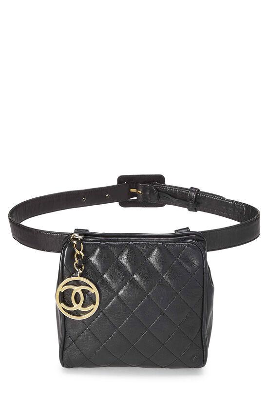 Black Quilted Lambskin Belt Bag 30, , large image number 0