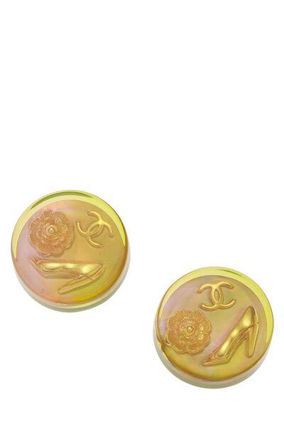 Iridescent Acrylic Button Earrings