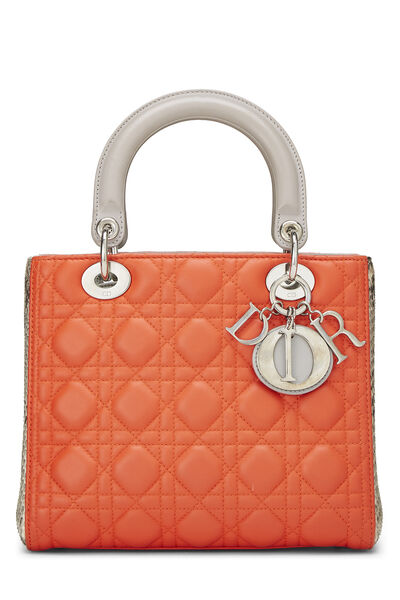 Orange Cannage Quilted Lambskin & Python Lady Dior Medium