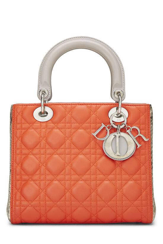 Orange Cannage Quilted Lambskin & Python Lady Dior Medium, , large image number 0
