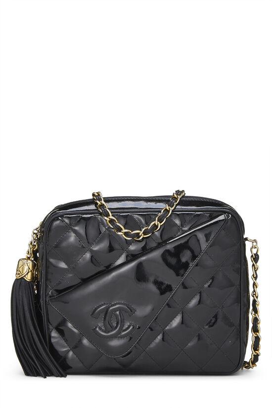 Black Quilted Patent Leather Pocket Camera Bag Mini, , large image number 0