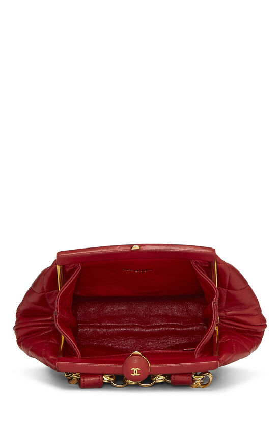 Red Quilted Lambskin Kiss Lock Belt Bag, , large image number 4