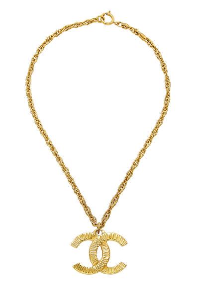 Gold Ridged 'CC' Necklace