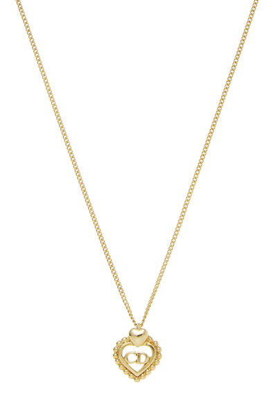 Gold 'CD' Heart Necklace Small, , large