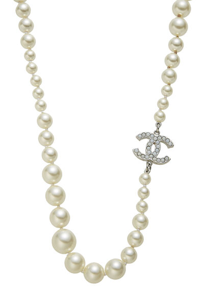 Silver & Faux Pearl 'CC' Necklace, , large