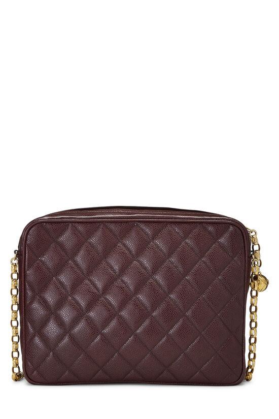 Burgundy Quilted Caviar Pocket Camera Bag Large, , large image number 4