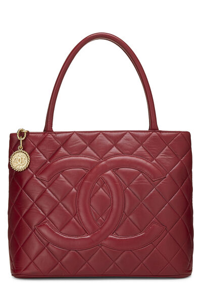 Red Quilted Lambskin Medallion Tote
