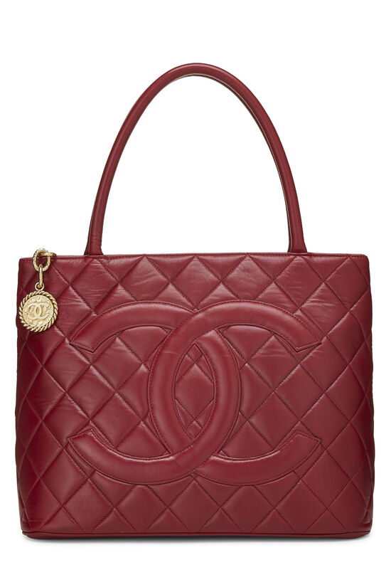 Red Quilted Lambskin Medallion Tote, , large image number 0