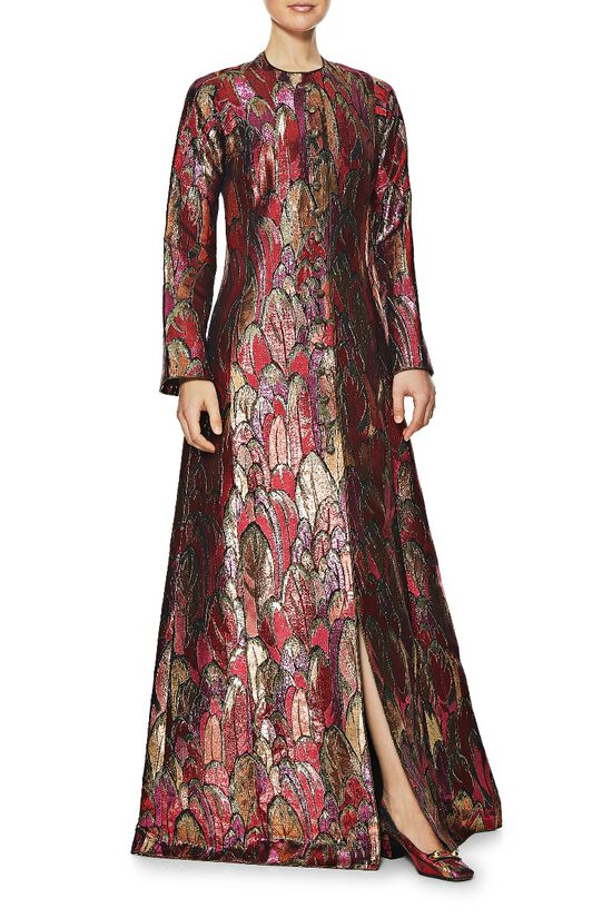 1960s Couture Multicolor Lamé Gown & Shoe Set, , large image number 1