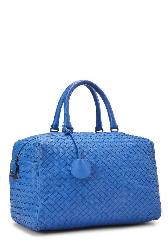 Blue Intrecciato Leather Boston, , large image number 2