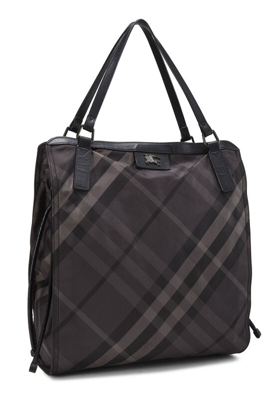 Black Check Nylon Buckleigh Tote, , large image number 1