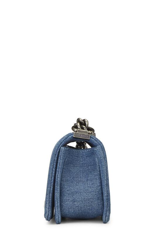 Blue Quilted Denim Boy Bag Small, , large image number 3