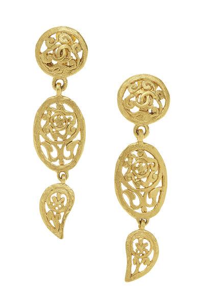 Gold Fretwork Paisley Earrings