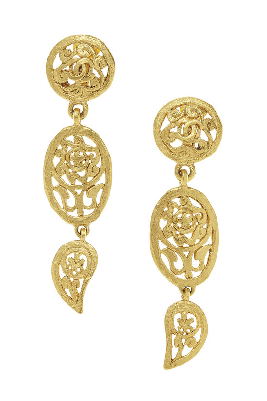 Gold Fretwork Paisley Earrings, , large image number 0