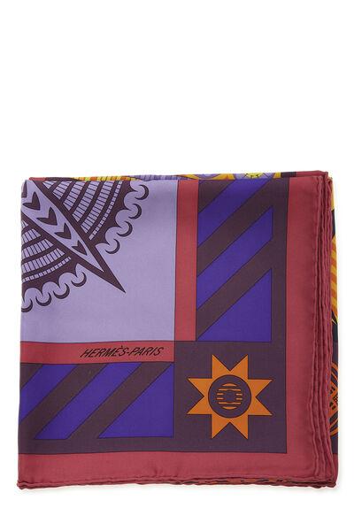 Purple & Multicolor 'Geometrie Cretoise' Silk Scarf 90, , large