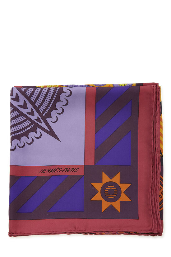 Purple & Multicolor 'Geometrie Cretoise' Silk Scarf 90, , large image number 1