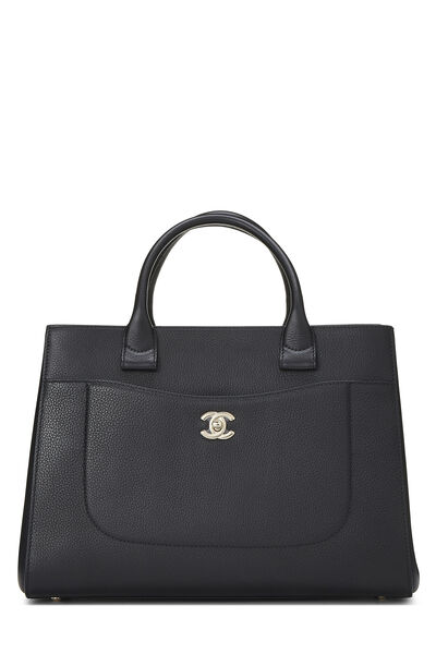 Black Leather Neo Executive Shopping Tote