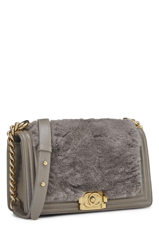 Grey Fur & Calfskin Boy Bag Medium, , large image number 2