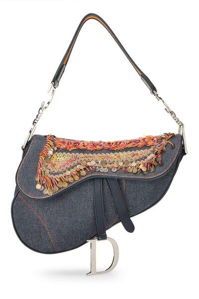 Blue Denim Embellished Saddle Bag