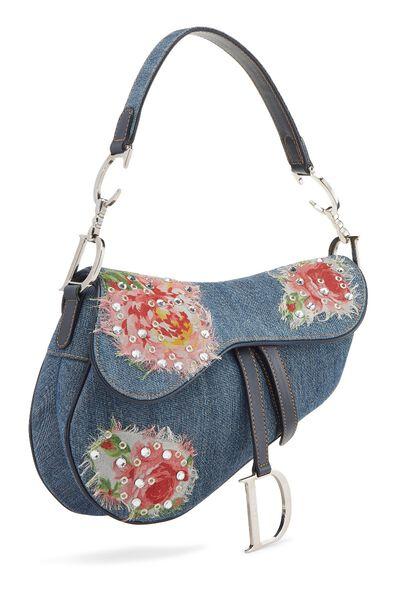 Blue Denim Floral Saddle Bag, , large