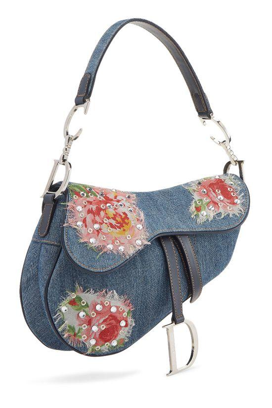 Blue Denim Floral Saddle Bag, , large image number 1