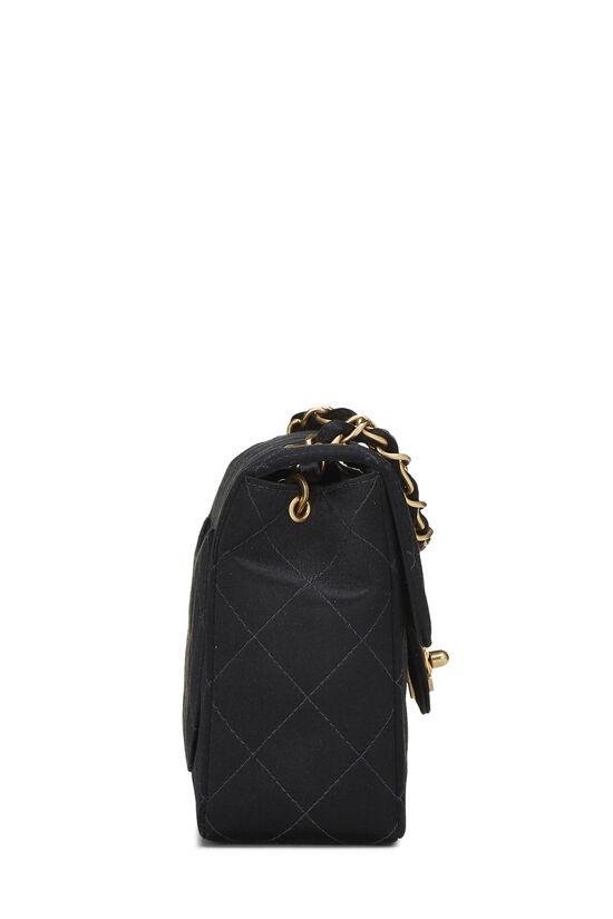 Black Quilted Satin Half Flap Mini, , large image number 2