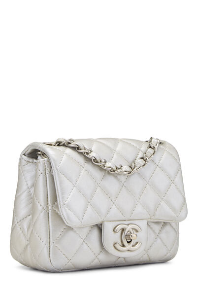 Metallic Silver Quilted Lambskin Classic Square Flap Mini, , large