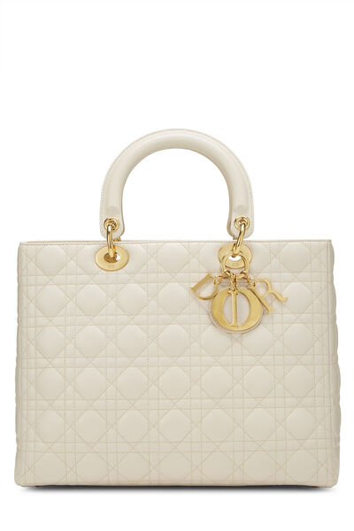 Ivory Cannage Quilted Lambskin Lady Dior Large