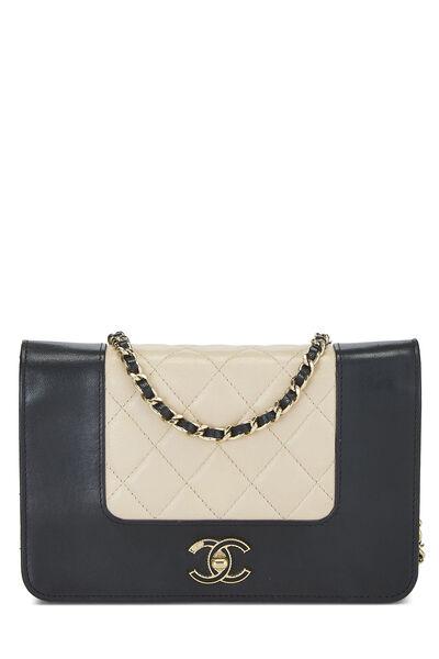 Beige & Black Quilted Lambskin Mademoiselle Wallet On Chain (WOC)