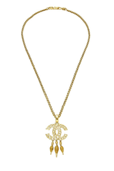 Gold 'CC' Fretwork Dangle Necklace