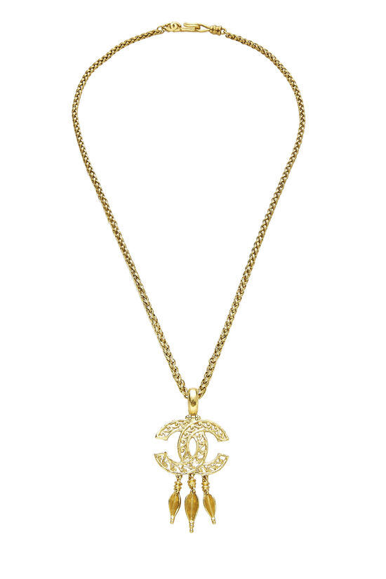 Gold 'CC' Fretwork Dangle Necklace, , large image number 0