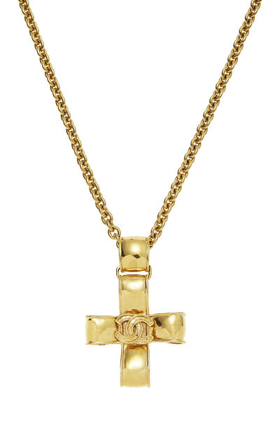 Gold Ribbon Cross Necklace, , large
